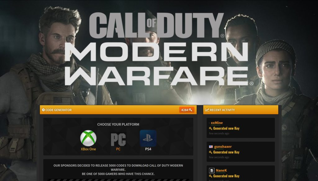 Call of Duty Modern Warfare Redeem Code